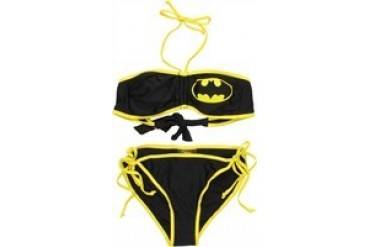 DC Comics Batman Logo Adjustable Bandeau Top String Bottom Two Piece Bikini Swimsuit