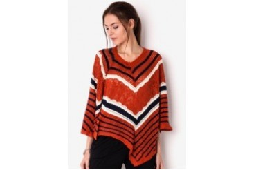 Chic Simple Batwing Stripes Knit Blouse