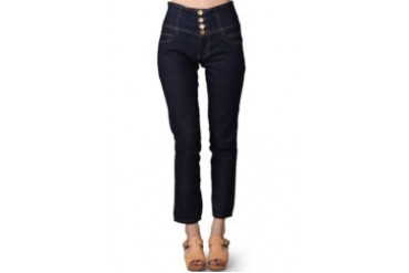 Miss Me Pants With 4 Button Gold Combination Dark Blue