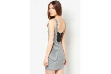 Material Girl Striped Sleeveless Bodycon Dress