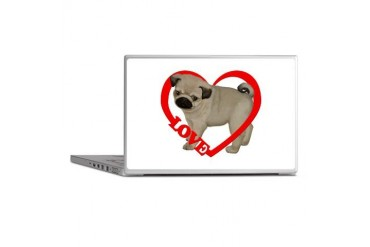 Pug Puppy Love Heart Dog Laptop Skins by CafePress
