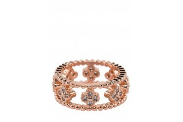 Saturation Rhinestone Clover Thick Cutout Rose Ring