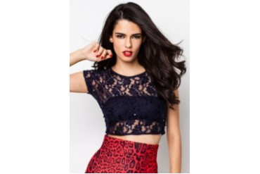 Navy Lace Sequin Embellished Crop Top
