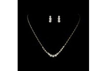 Elegance By Carbonneau Necklace & Earring Set - Style NE305-GoldClear