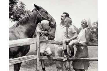 Family with a horse Poster Print (18 x 24)