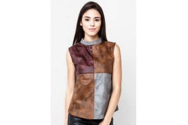 Zoe Blouse Sleeveles Leather Redical Cubic