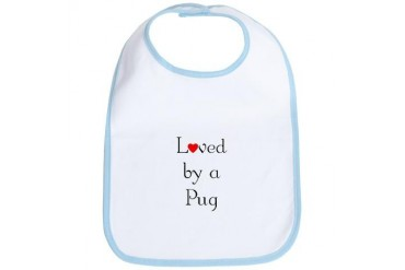 Loved by a Pug Pets Bib by CafePress