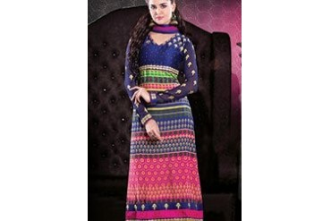 Stylish Printed Crepe Churidar Suit