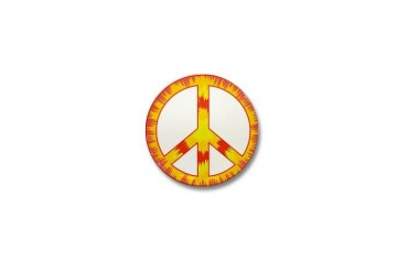 Trippy Peace Sign Tie Dye - Red Orange Yellow Mini Peace sign Mini Button by CafePress