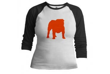Orange Bulldog Silhoutte Jr. Raglan by CafePress
