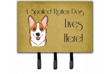 Red Corgi Spoiled Dog Lives Here Leash or Key Holder