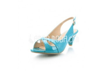 Patent Leather Kitten Heel Peep Toe Slingbacks Sandals (087026043)