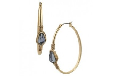 Faceted Bead Hoop Earring
