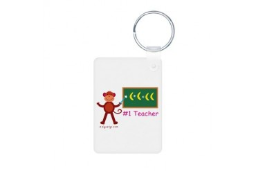 Teacher Appreciation Gifts - Monkey Teacher Alumin Math Aluminum Photo Keychain by CafePress