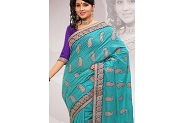 Turquoise Embroidered Chanderi Silk Saree
