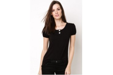 Lady Loose Jersey Blouse With Button Detail