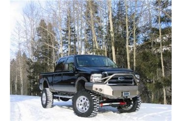 Fab Fours Pre-Runner Heavy Duty Winch Bumper in Bare Steel with Lights and D-ring Mounts FS05-A1252-B Front Bumpers