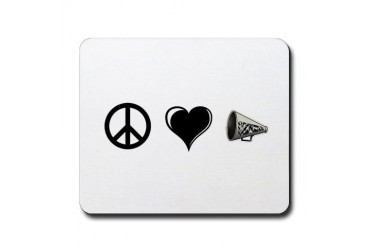 Peace, Love, Cheer Peace Mousepad by CafePress