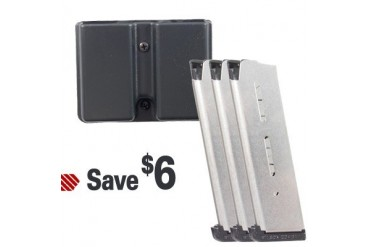 Wilson Combat 1911 Magazine Kits - 1911 8 Round Ss Magazine 3 Pack With Double Mag Pouch