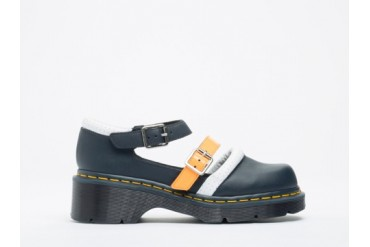 Agyness Deyn X Dr. Martens Aggy Strap Shoe in Navy White Acid Orange size 7.0