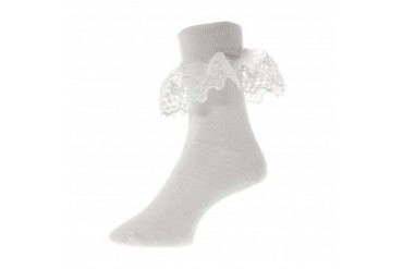 Divine White Lace Cotton Bobby Socks for Baby Girls