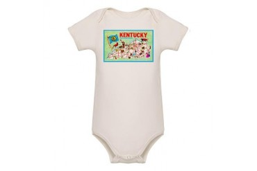 Kentucky Map Greetings Vintage Organic Baby Bodysuit by CafePress