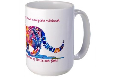 Cats Pitter Patter Cat Large Mug by CafePress