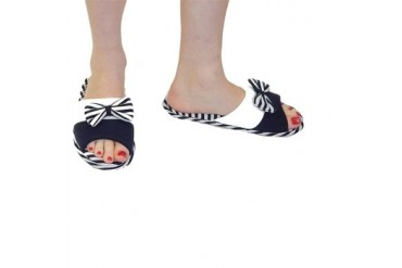 Women s Designer Bow and Stripes Slippers