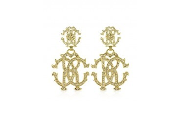 RC Luxe Gold Tone Metal Signature Earrings