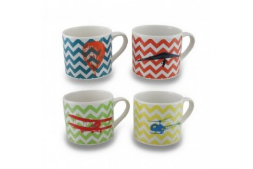 Set 4 Flights of Fantasy Colorful Chevron Striped 20 oz. Ceramic Mug