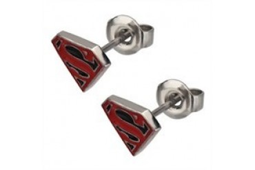 DC Comics Superman Superboy Die Cut Logo Stainless Steel Stud Earrings