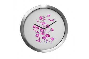 Daisy Dragonfly Dazzled Nature Modern Wall Clock by CafePress