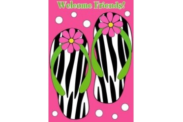 Welcome Friends Zebra Flip Flops Crazy Daisy Appliqued Garden Flag GF