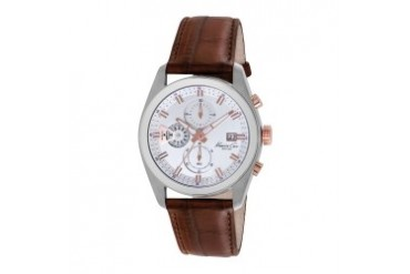 Chronograph Watch With Silver Dial and Brown Croco-Leather Strap