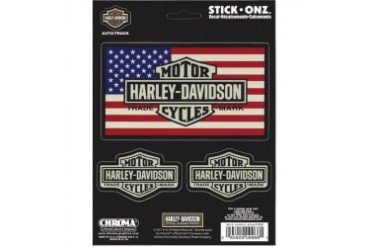 Harley Davidson Bar and Shield American Flag Decal