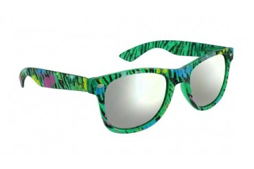 Green Mirrored Lens Sunglasses with Zebra Paint Spatter Frames