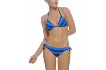 Splendid 'Marcel' Reversible Stripe Triangle Bikini Blue, S