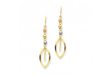 Tri Color Bead And Marquise Shaped Dangle Earrings In 14 Karat Gold Price Comparison