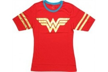 DC Comics Wonder Woman Foil Print Two Sided Jersey Ringer Baby Doll Tee