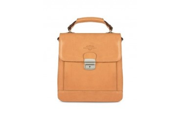 Sand Vegetable Tanned Leather Vertical Briefcase