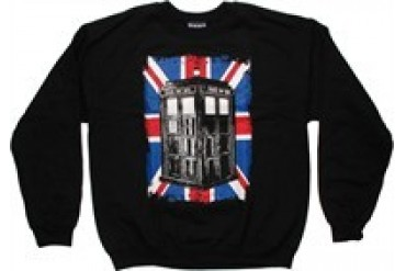 Doctor Who Union Jack Behind TARDIS Fleece Sweatshirt