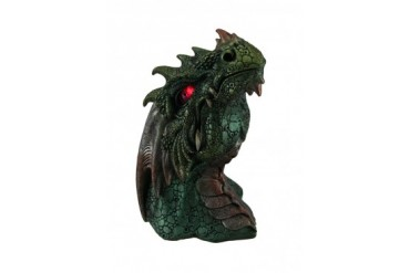 Hand Painted Dragon Head Statue W Red LED Eyes