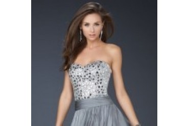 "La Femme ""In Stock"" Platinum Dress - Style 17953"