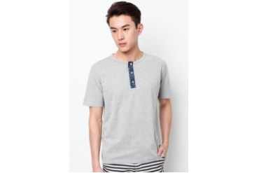 Kei&Kori Cotton Pique Tee With Grandad Collar
