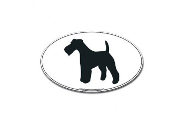 Wire Fox Terrier Silhouette Oval Sticker Pets Sticker Oval by CafePress