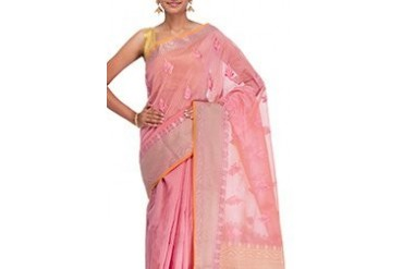 Pleasing Pink Chanderi Saree