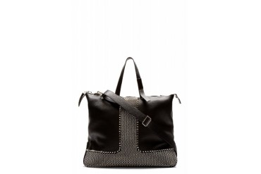 Giuseppe Zanotti Black Grained Leather Studded Tote Bag