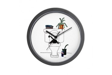 Cat Art for the Bath Humor Wall Clock by CafePress