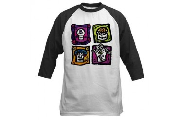 Day of the Dead Sugar Skulls Skull Baseball Jersey by CafePress