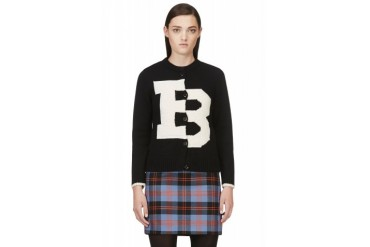 Band Of Outsiders Black Wool Knit Varsity Cardigan